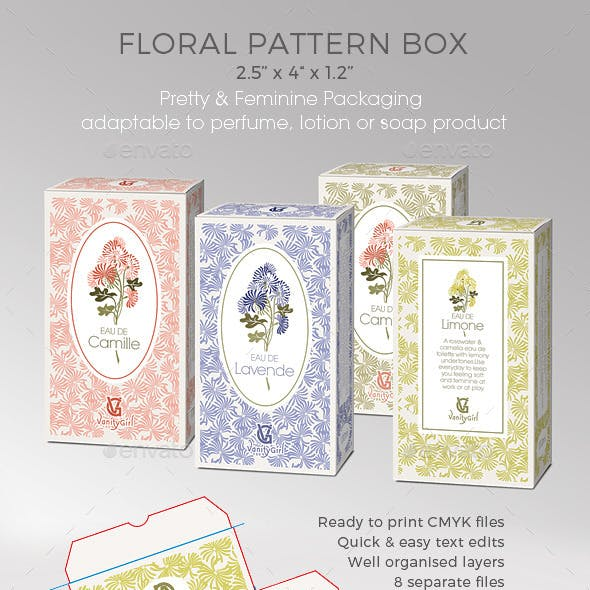 Perfume/Soap/Cosmetic Box - Floral Pattern