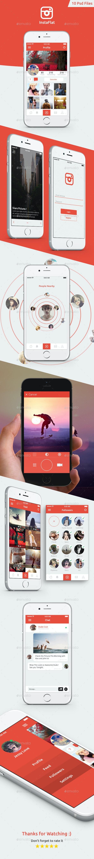 InstaFlat Mobile App UI Kit Design - User Interfaces Web Elements
