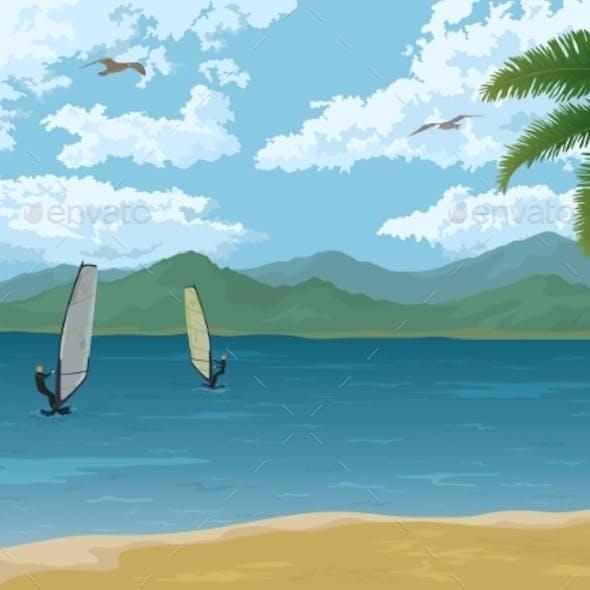Sea Landscape with Palms
