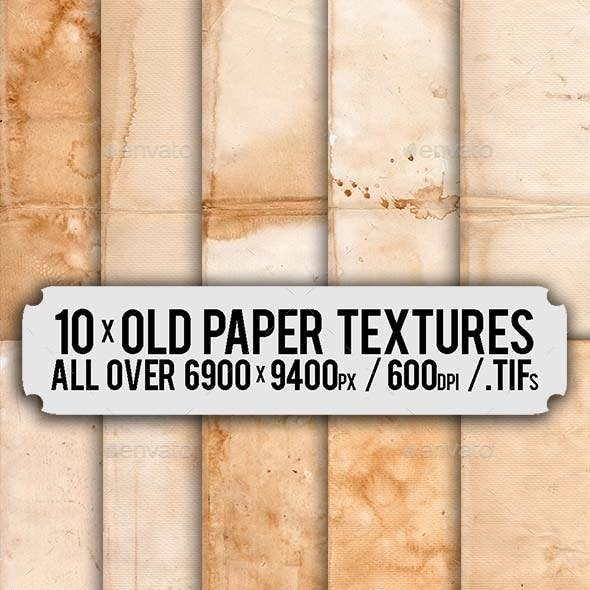 10 x Old Folded Paper HD 6900px x 9400px