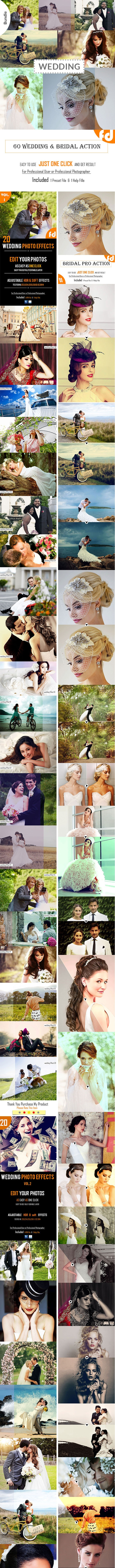 60 Wedding & Bridal Actions Bundle - Photo Effects Actions