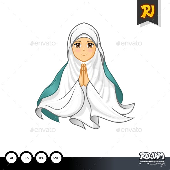 Muslim Woman with Welcoming Arms Wearing White Veil