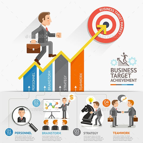 Business Growth Arrow Strategies Concept.