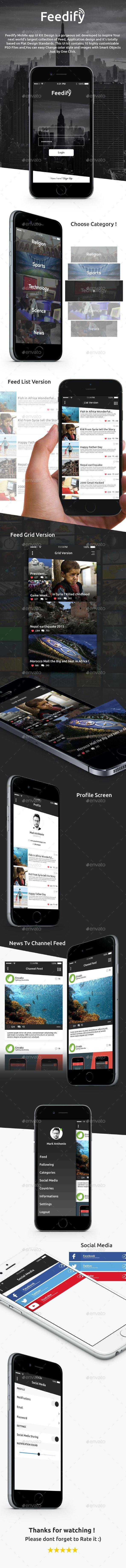 Feedify News Feed Mobile App UI Kit Design - User Interfaces Web Elements