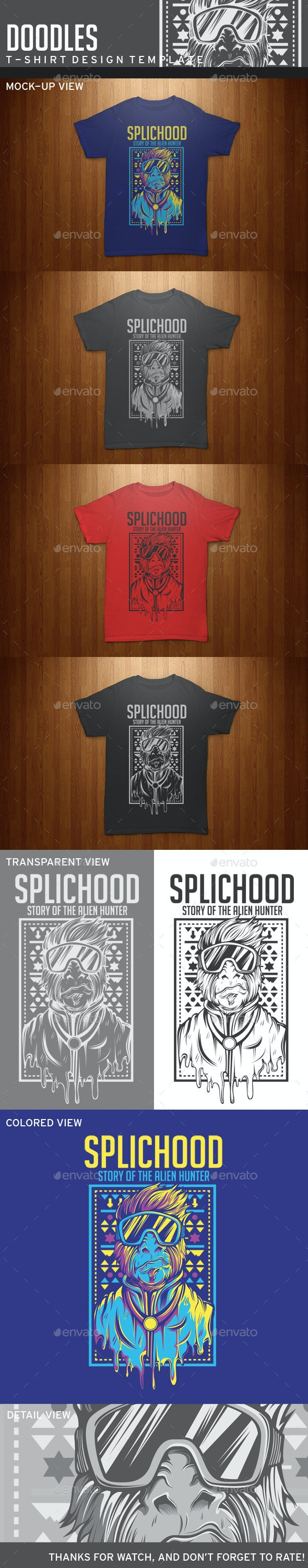 Splichood T-Shirt Template - Grunge Designs