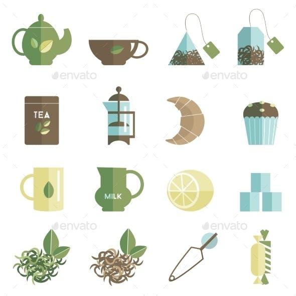 Tea Time Icons Set Flat