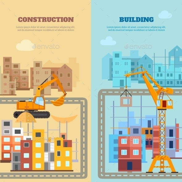 Construction And Building Banner Set - Miscellaneous Vectors