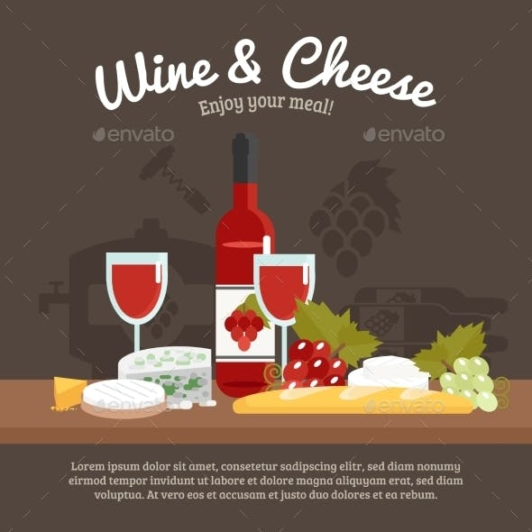 Wine And Cheese Life Still