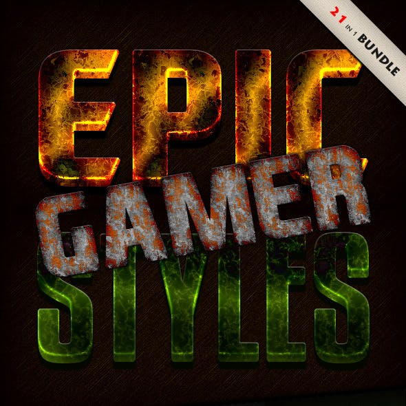 Photoshop Text Styles Bundle / Epic Gamer Pack