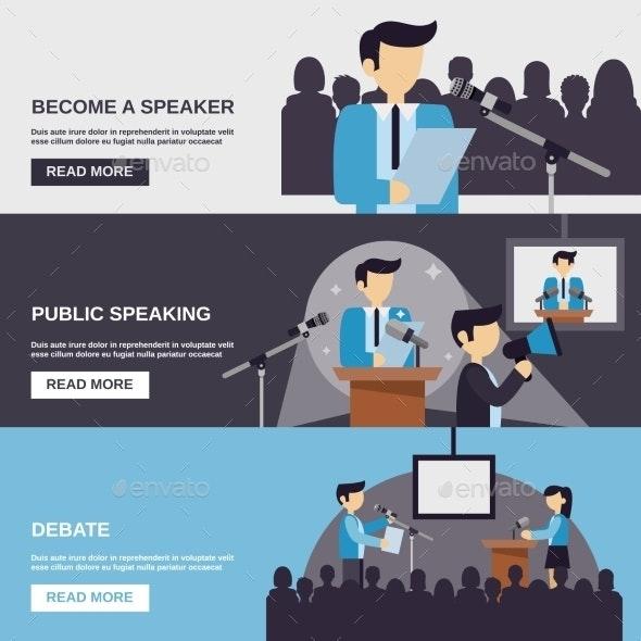 Public Speaking Banner - Business Conceptual