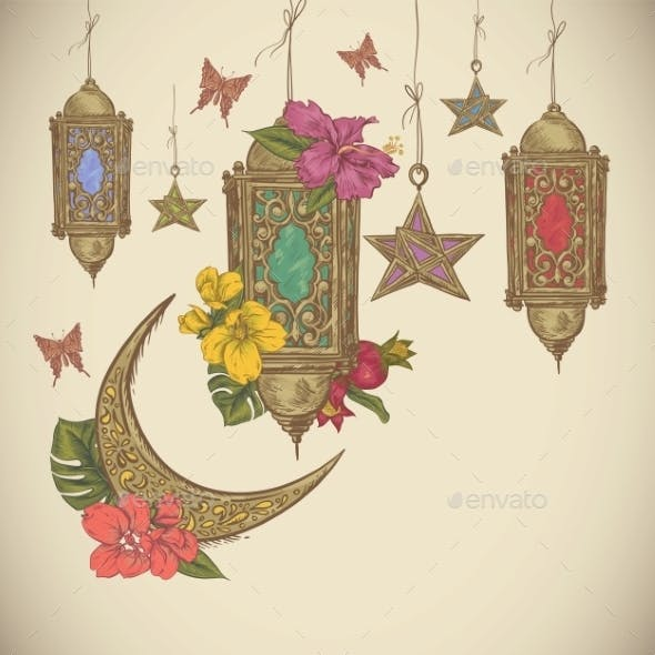 Traditional Greeting Card With Arabic  Lantern