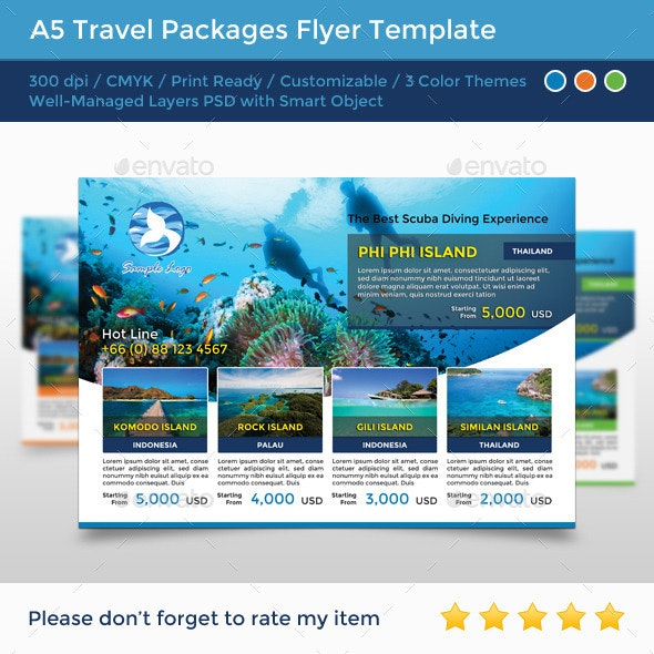 A5 Travel Packages Flyer - Commerce Flyers