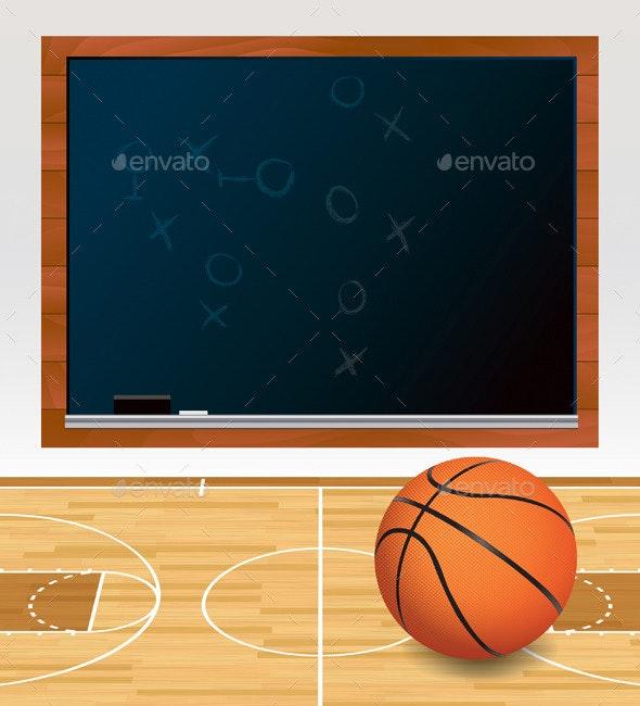 Vector Basketball Chalkboard on Court Illustration - Sports/Activity Conceptual