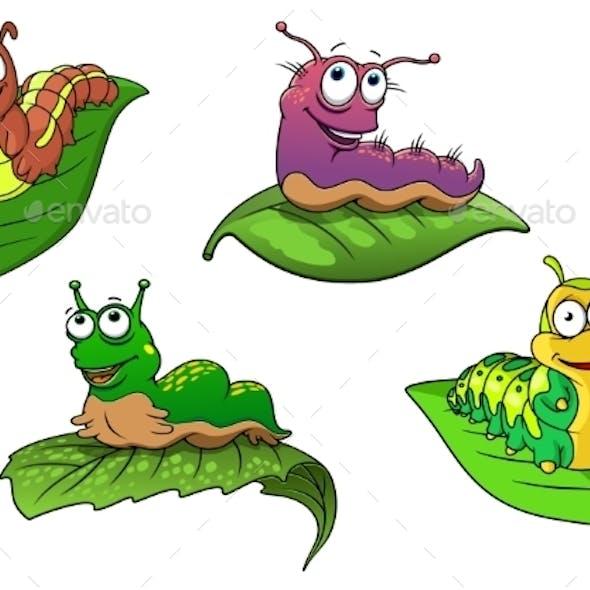 Cheerful Cartoon Caterpillars Characters