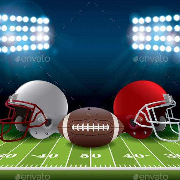 American Football Field with Helmets and Ball
