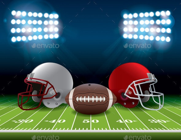 American Football Field with Helmets and Ball - Sports/Activity Conceptual