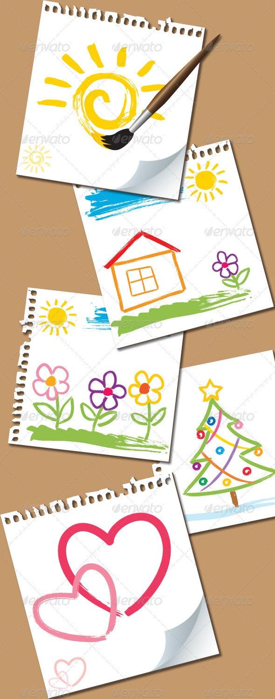 Childlike Paintings - Backgrounds Decorative
