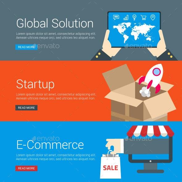 Flat Design Concept for Global Solution, Startup - Web Technology