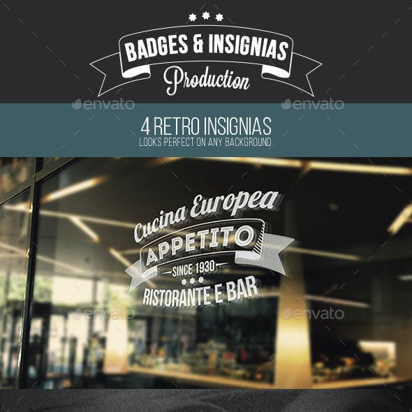 Premium Retro Insignias, Badges