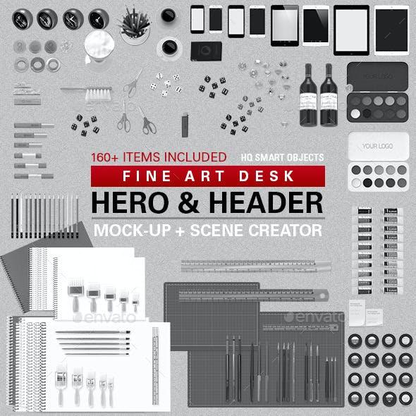 Fine Art Desk Hero & Header Scene Creator #1