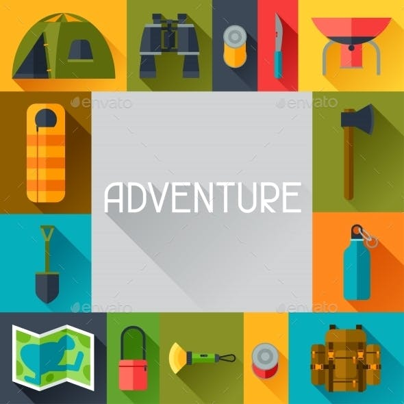 Tourist Background with Camping Equipment