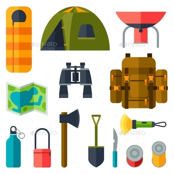 Tourist Set of Camping Equipment Icons