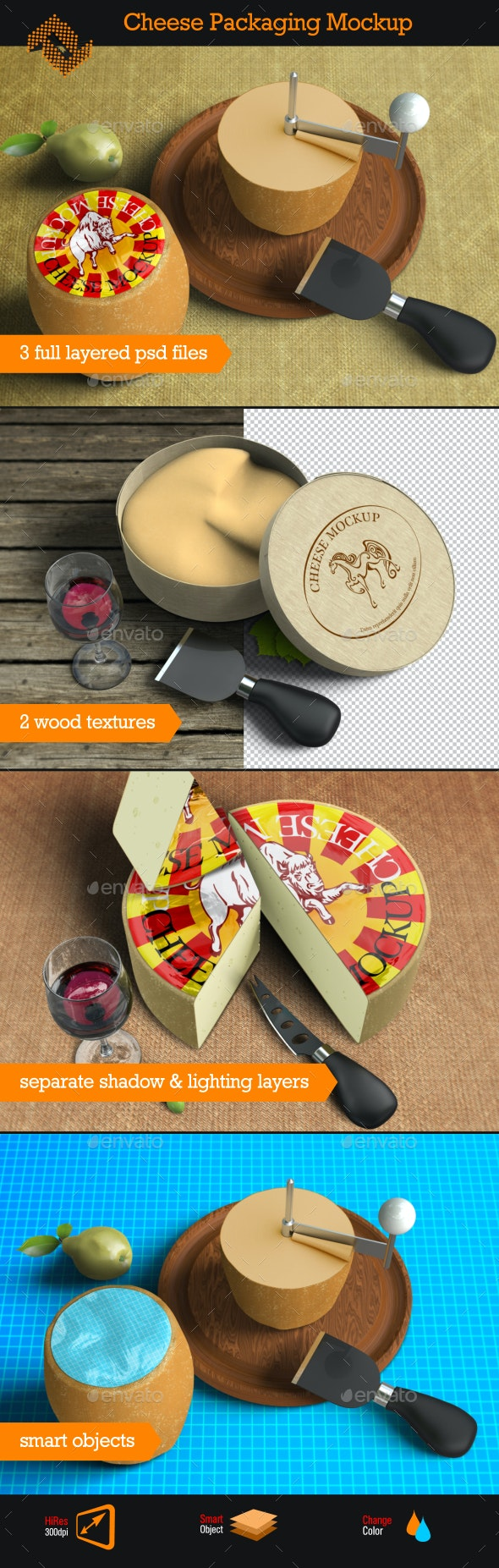 Cheese Mockup - Food and Drink Packaging