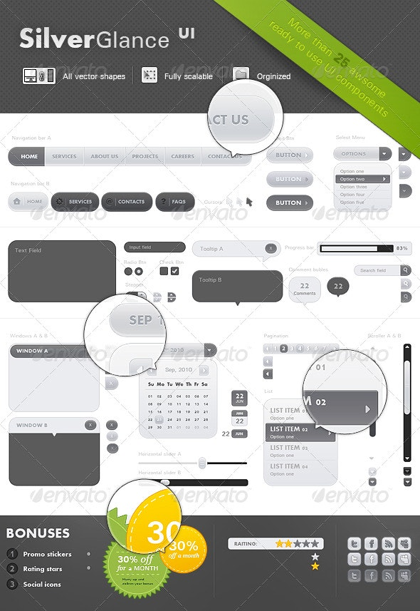 SilverGlance UI - User Interfaces Web Elements