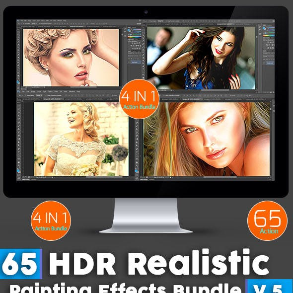 65 HDR Realistic Painting Effects Bundle V.5