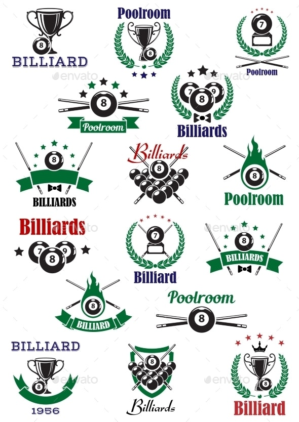 Billiards, Snooker And Pool Emblems - Sports/Activity Conceptual