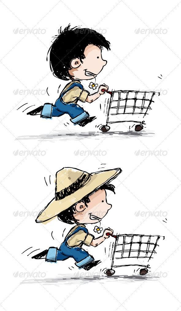 Smiling Boy Shopper - Characters Vectors