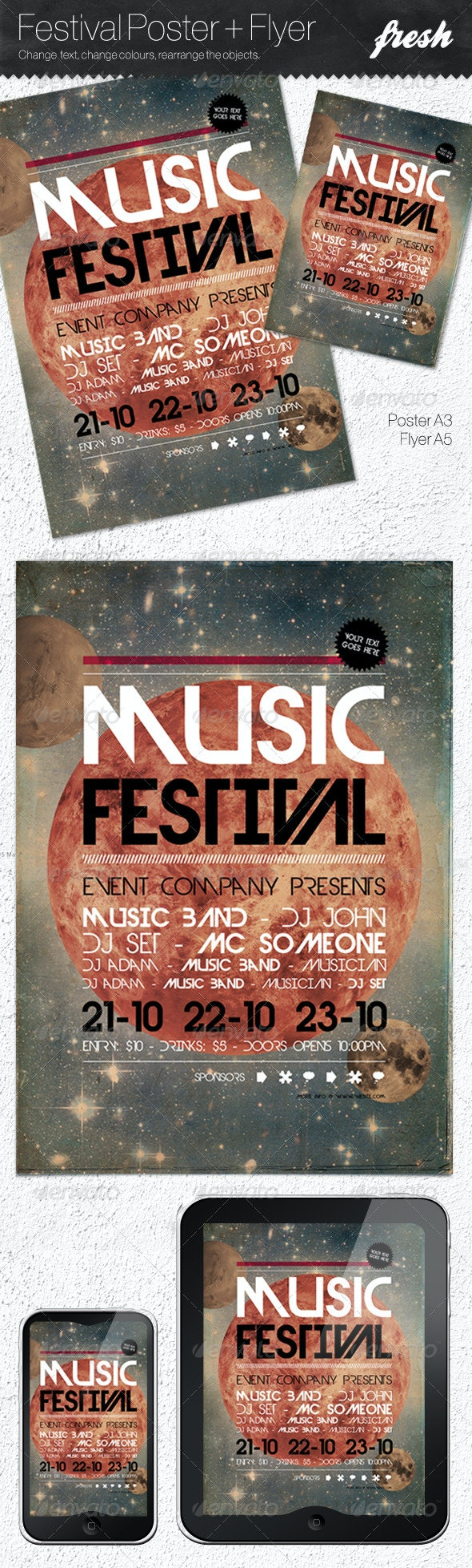 Music Festival Poster + Flyer - Clubs & Parties Events