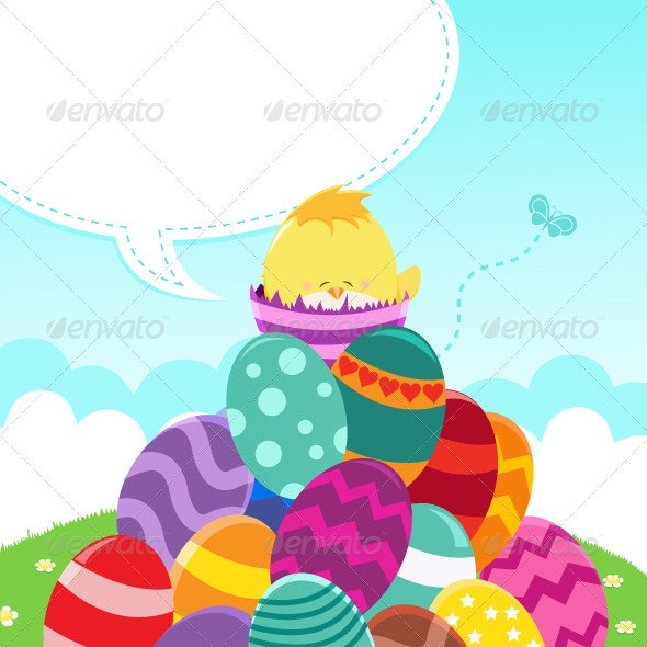 Happy Easter Message - Animals Characters