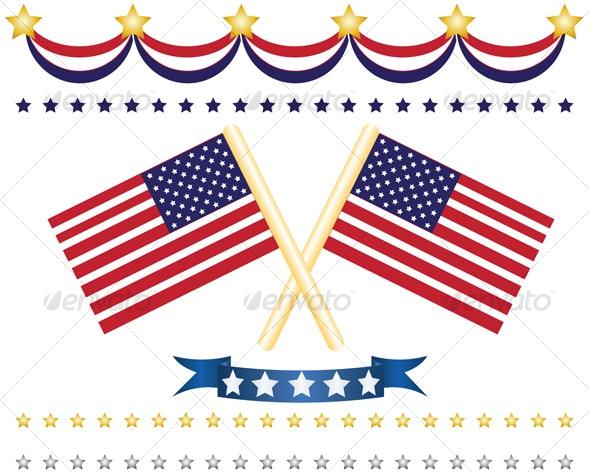 us flag decor set - Decorative Vectors