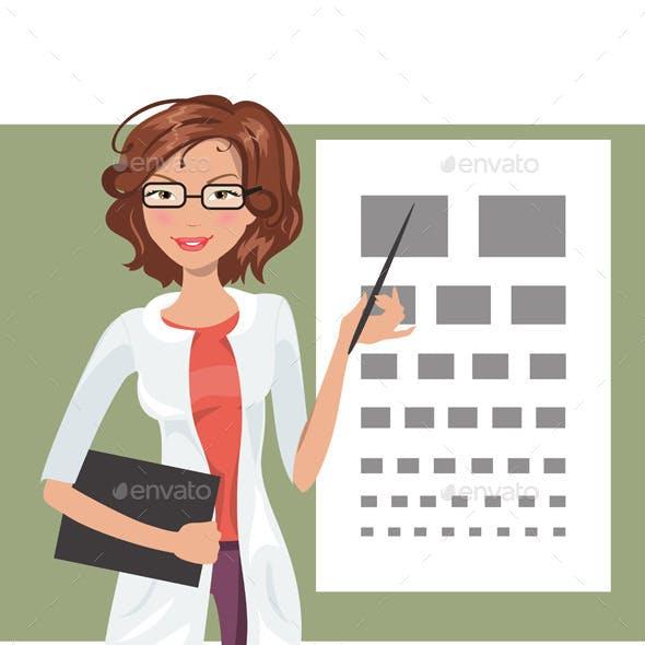 Illustration of Cartoon Girl Ophthalmologist