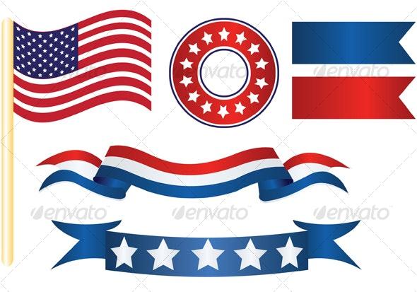 us flag decor - Decorative Vectors