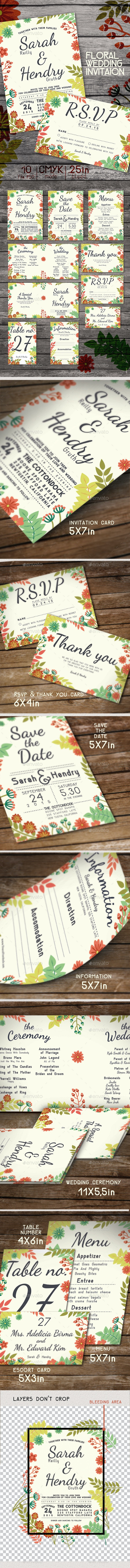 Wedding Package Floral Theme - Weddings Cards & Invites