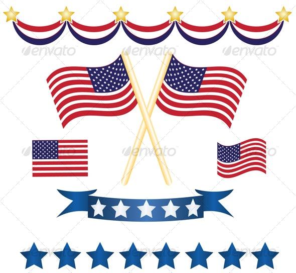 US independence decoration set - Decorative Vectors