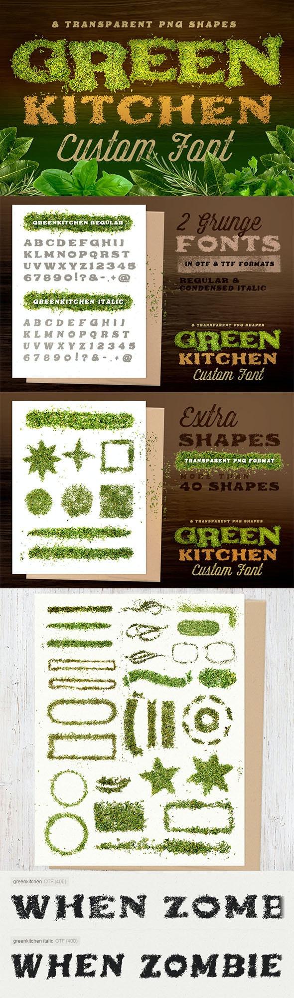 Green Kitchen - Custom Fonts - Grunge Decorative