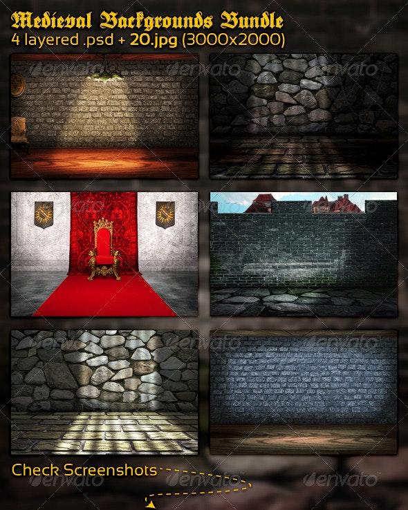 Medieval Backgrounds Bundle - Backgrounds Graphics