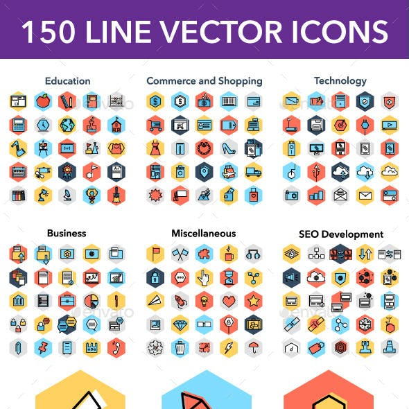 150 LINE VECTOR ICONS