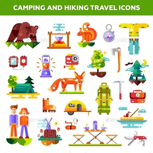 Modern Flat Design Illustration Of Camping