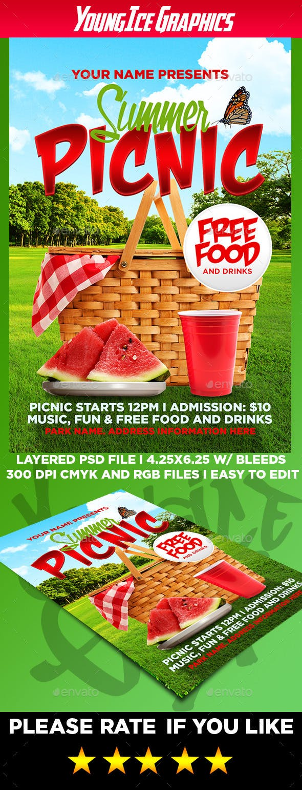 Summer Picnic Flyer Template By Youngicegfx Graphicriver