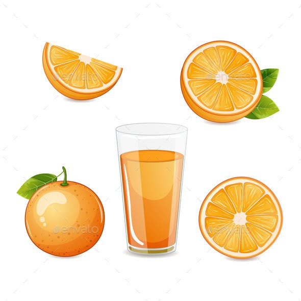 Orange Fruit Half and Sliced and Orange Juice