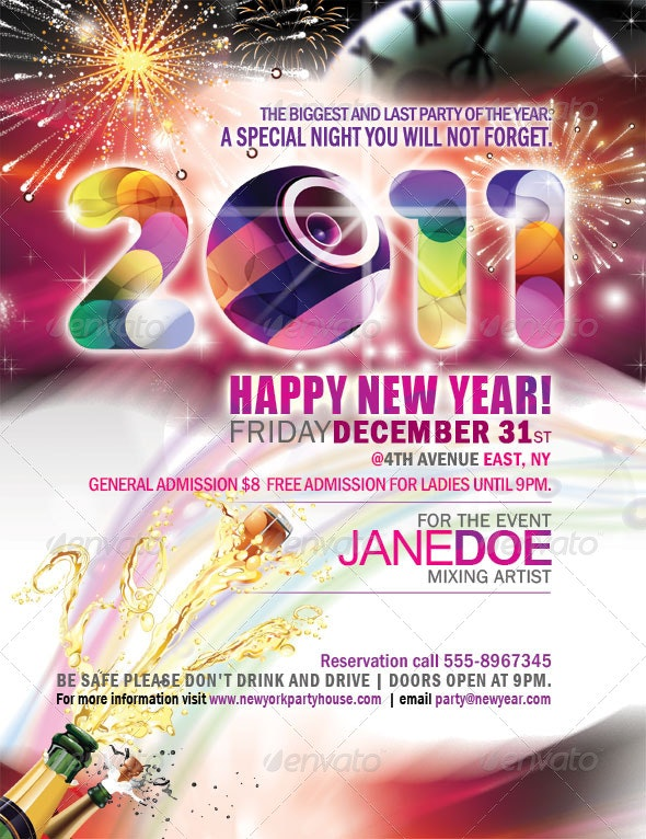 New Year Party Flyer /  Poster - Clubs & Parties Events