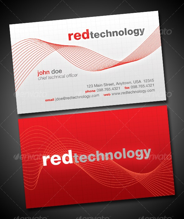 Red Technology Business Card - Corporate Business Cards