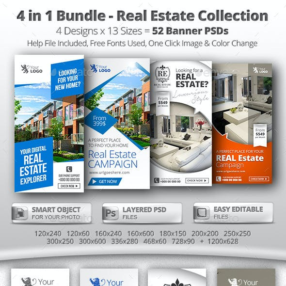 52 Real Estate Web & FB Banners - 4 in 1 Bundle