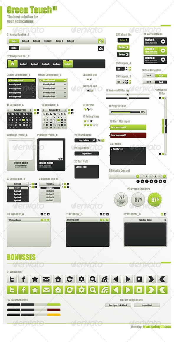 GreenTouch UI - Buttons Web Elements