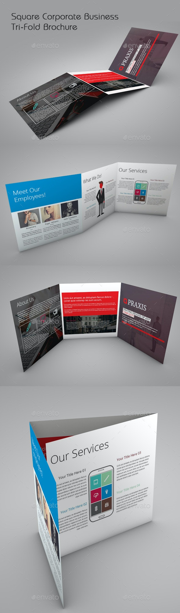 Square Corporate Business Tri-fold - Brochures Print Templates