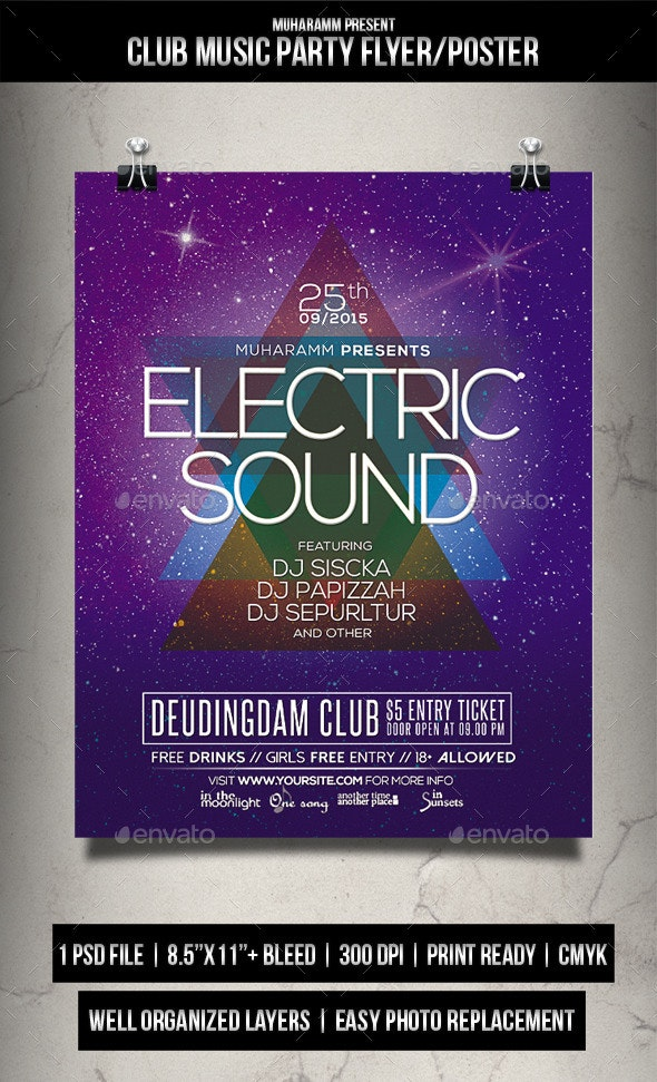 Club Music Party Flyer / Poster - Clubs & Parties Events